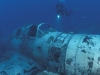 Diver with WW II Japanese fighter plane
