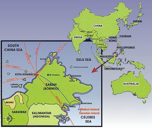 Mabul Water Bungalow: Mabul-map-asia